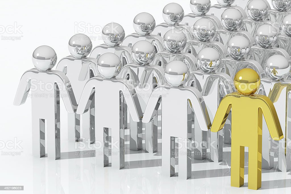Outstanding gold person , team concept royalty-free stock photo