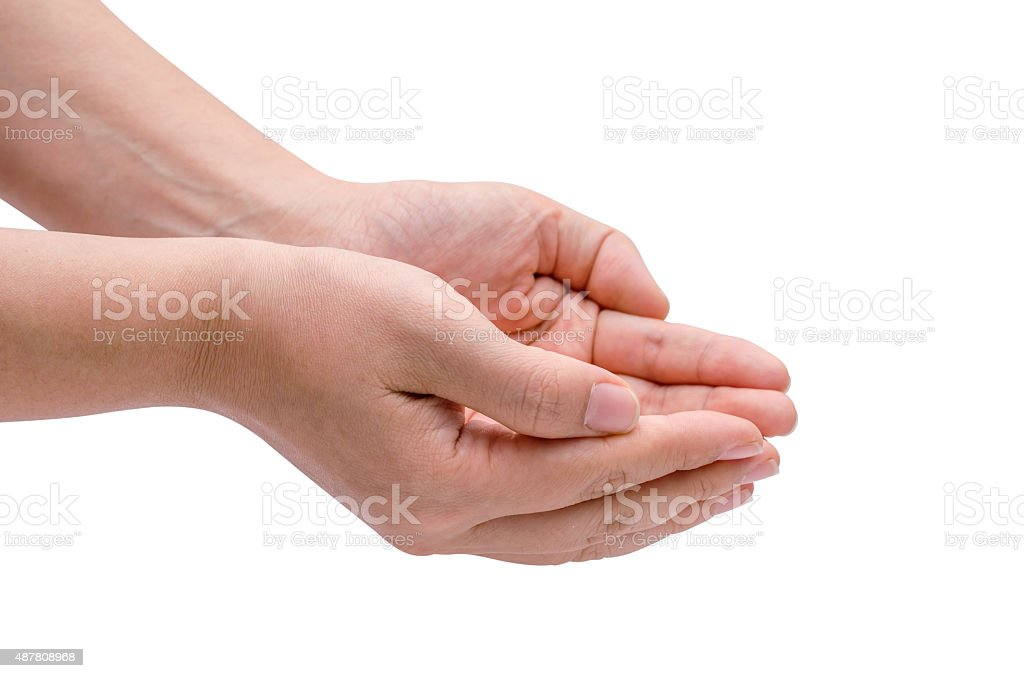 Outstretched cupped hands stock photo