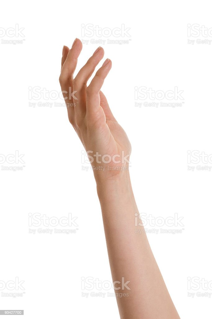 Outstretched hand and arm against a white background royalty-free stock photo