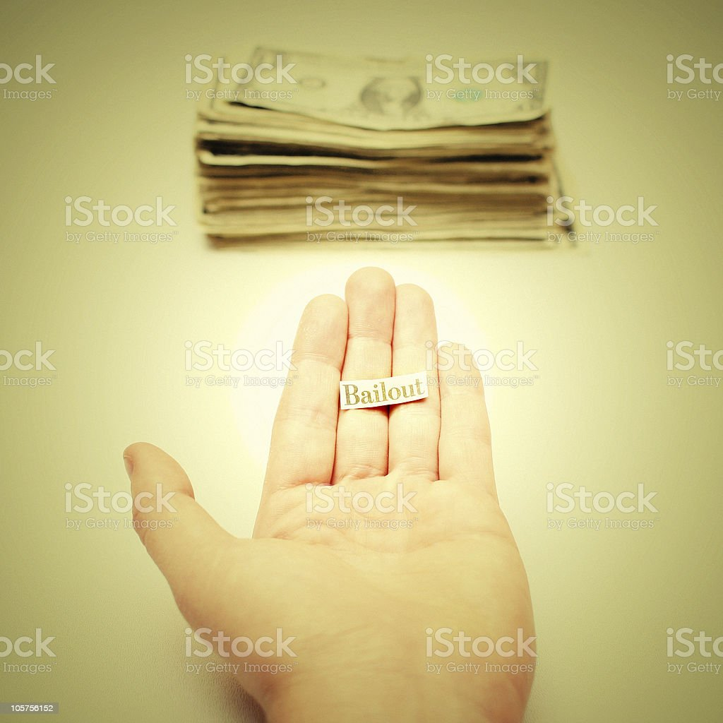 Outstretched Hand Asking for Money: Bank Bailout Concept Photo royalty-free stock photo