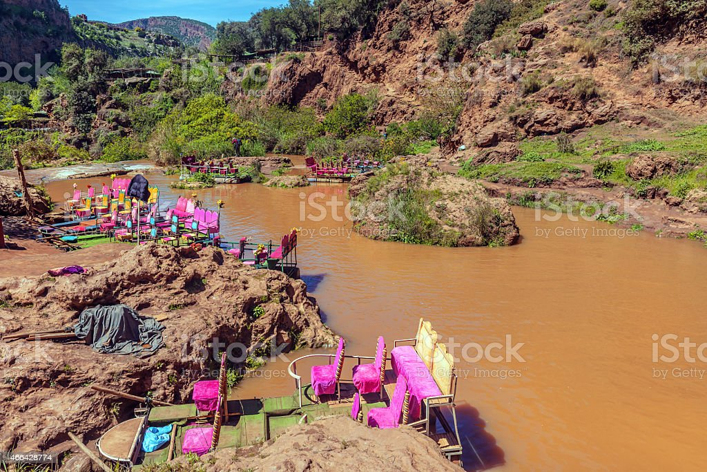 Ouzoud, colorful hairs on the boats, purple, Morocco ,North Africa stock photo