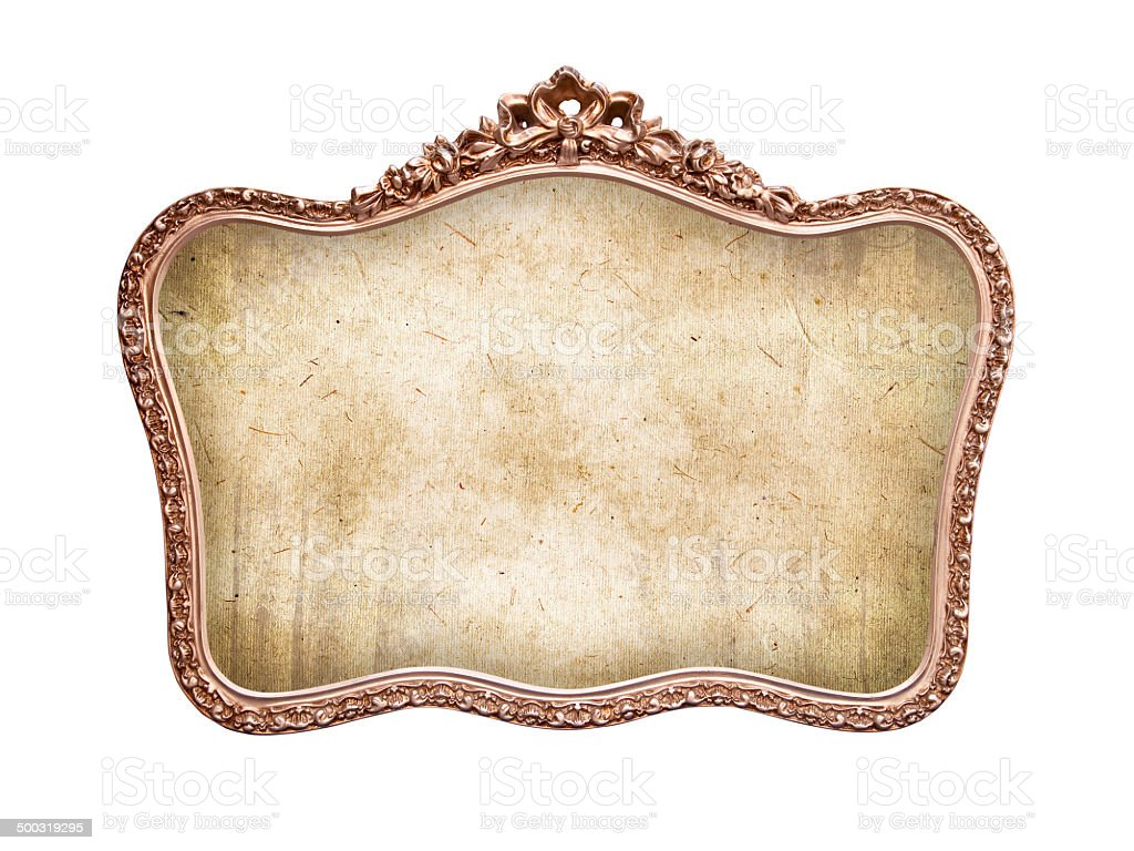Oval antique baroque frame, isolated on white background stock photo