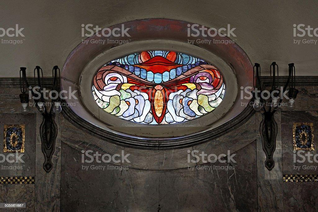 oval art nouveau window stock photo