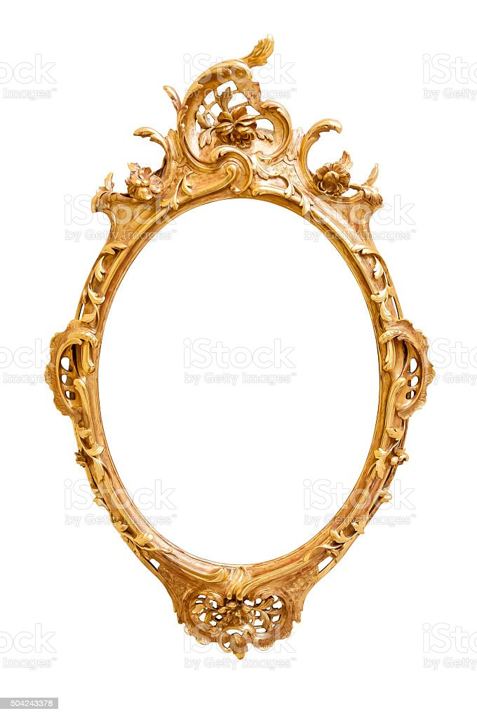 Oval decorative picture frame stock photo