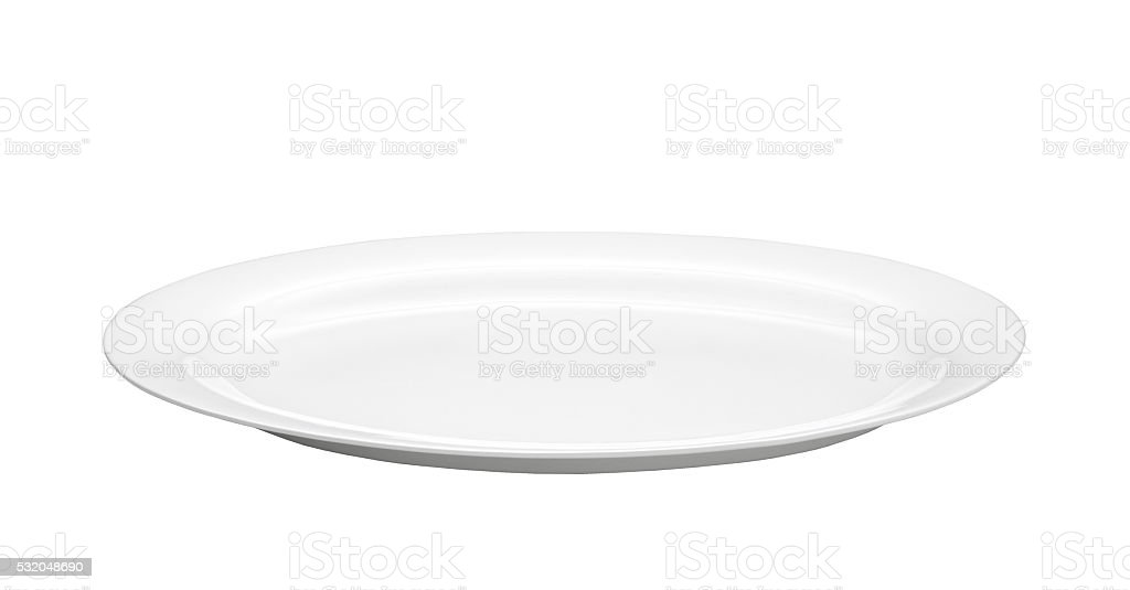 Oval empty plate stock photo