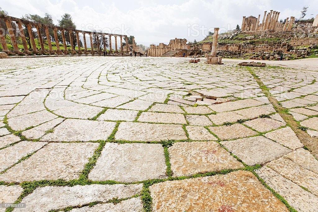 oval forum in antique town Jerash stock photo
