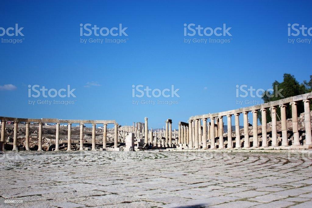 Oval Forum in Jerash in Jordan, Middle East stock photo