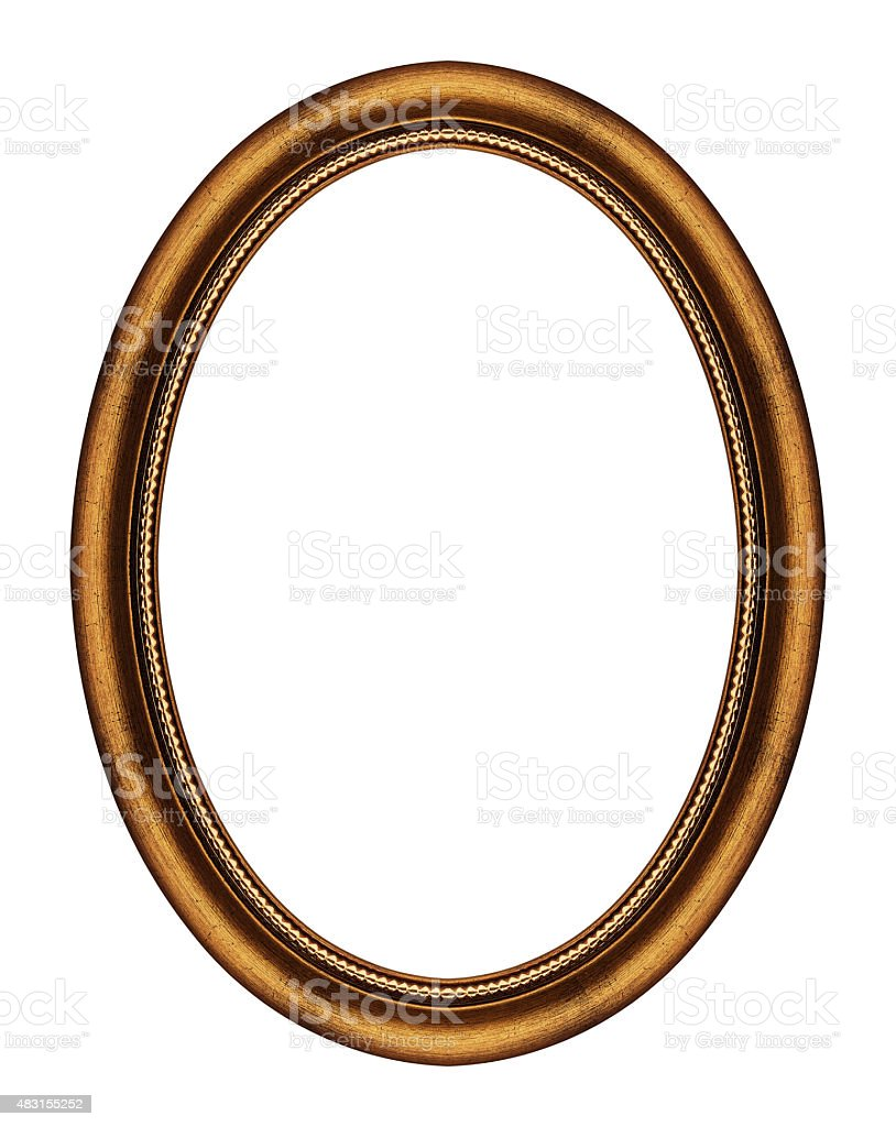 Oval frame isolated on white stock photo