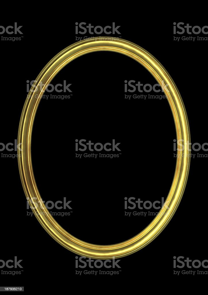 Oval Gold  frame(Clipping path!) stock photo