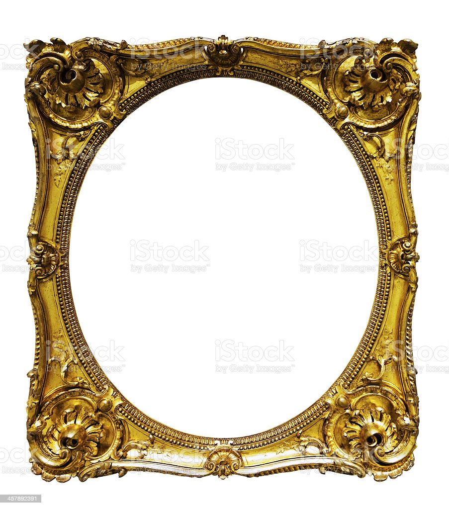 oval gold picture frame stock photo