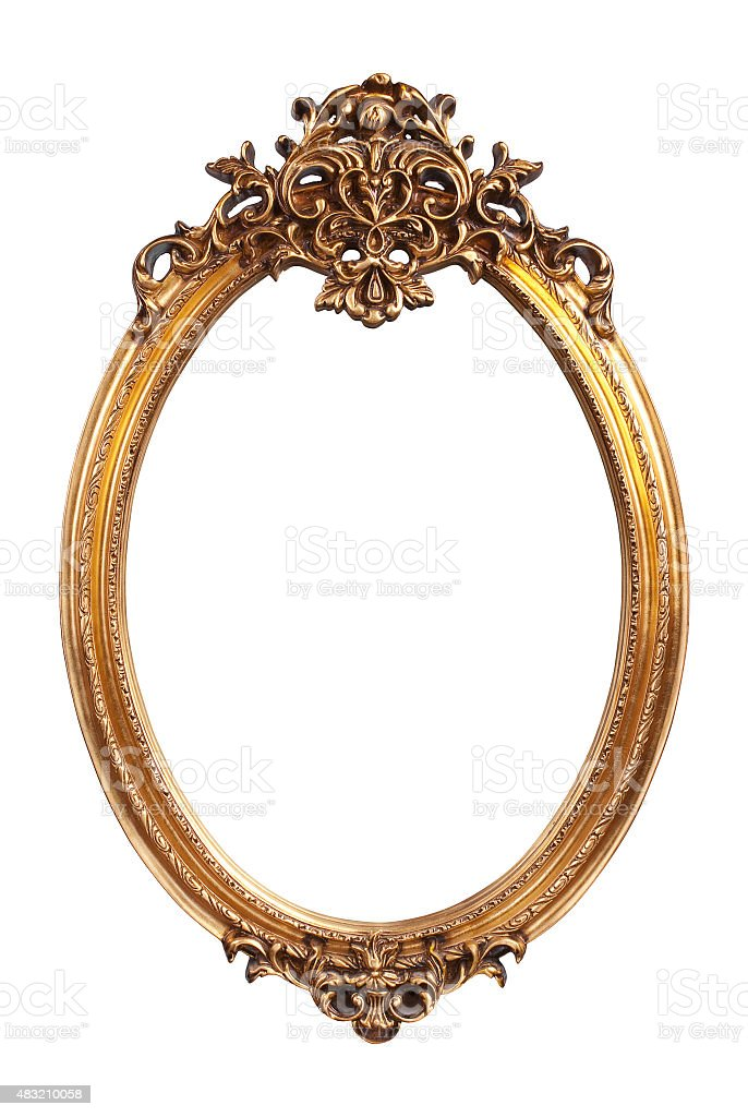 Oval gold vintage frame isolated on white background stock photo