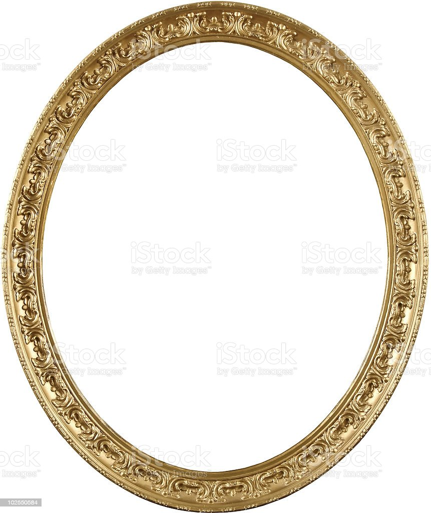 Oval golden picture frame stock photo