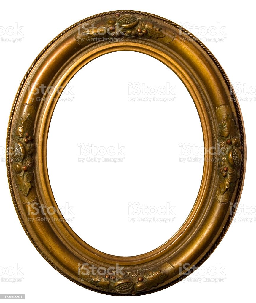 Oval picture frame with engraved design on white background stock photo
