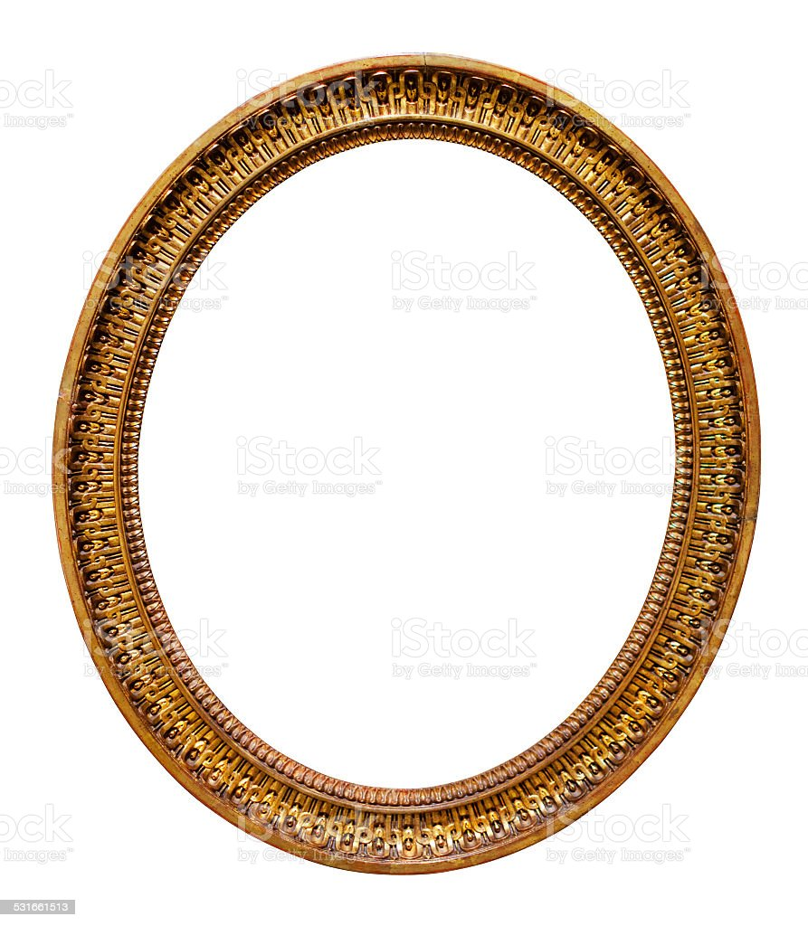 Oval picture gilded frame stock photo