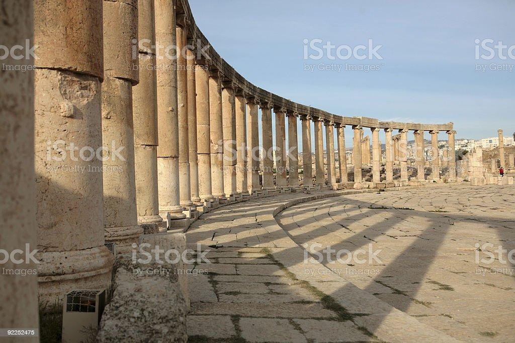 Oval Plaza of Jerash stock photo