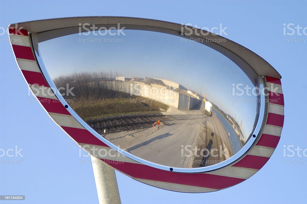 oval traffic mirror royalty-free stock photo