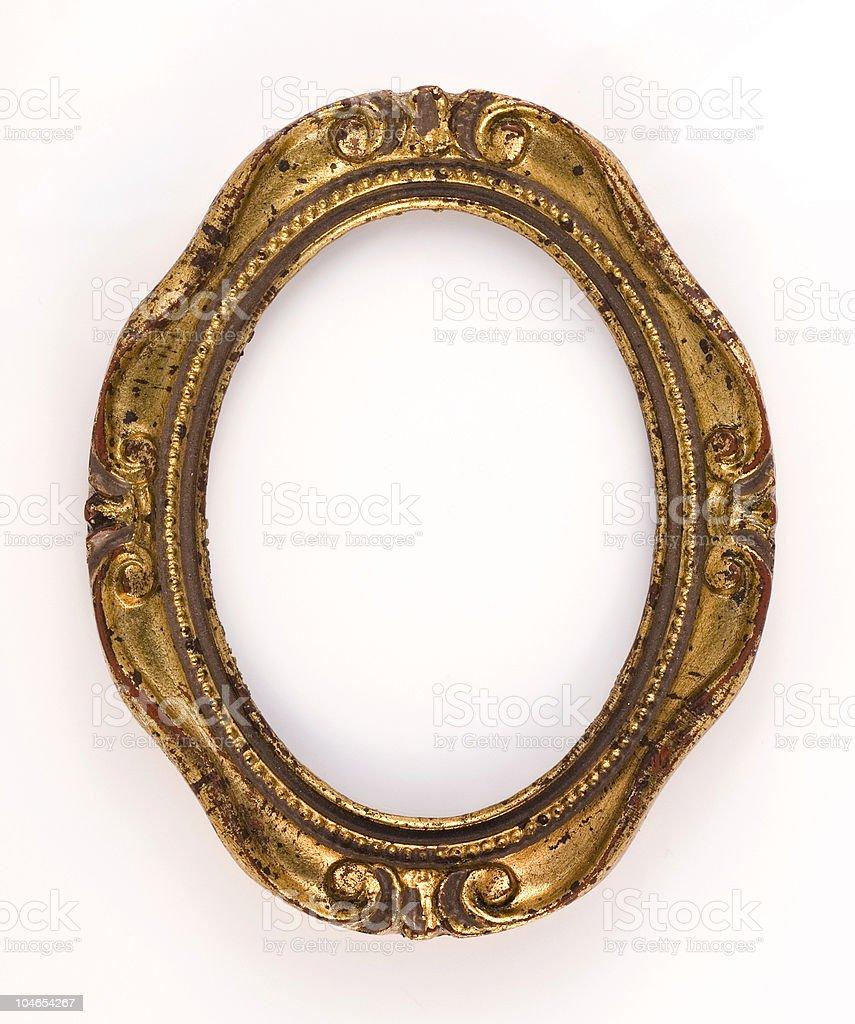 Oval vintage gold ornate frame royalty-free stock photo