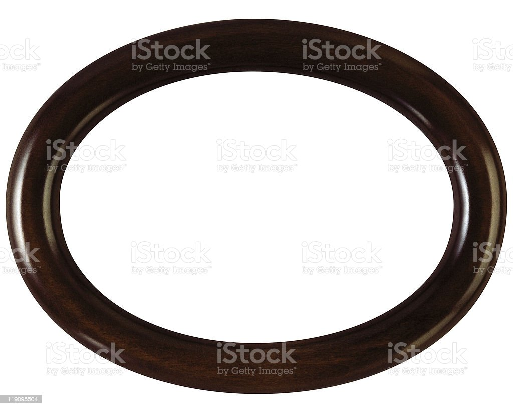 Oval wooden picture frame stock photo