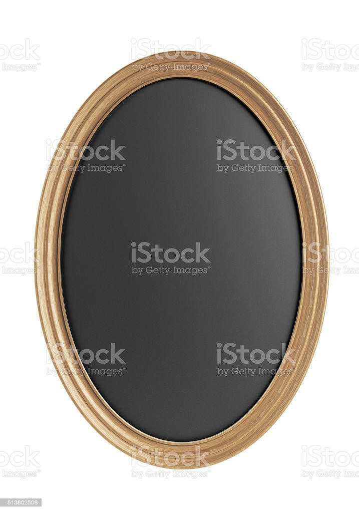 OvalChalkboard With Wooden Frame stock photo