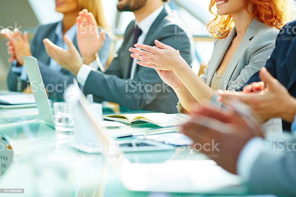 Ovation after meeting stock photo
