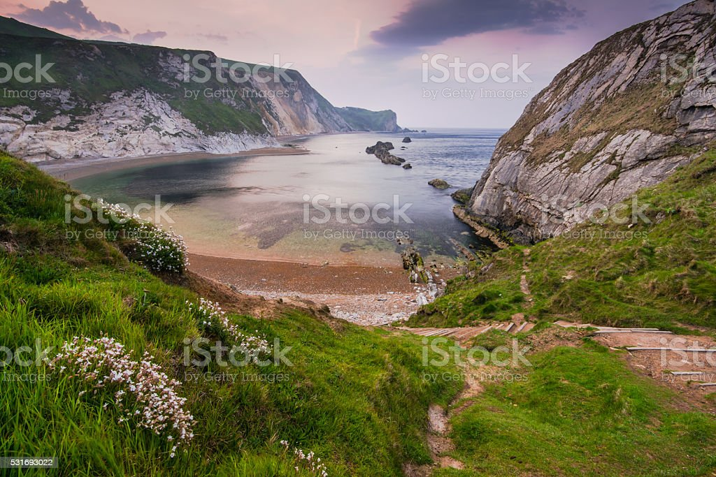 ovelooking at Man o War cove in Dorset,UK stock photo
