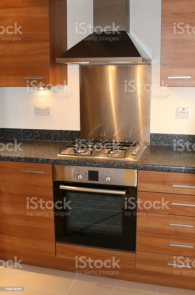Oven and hood incorporated in new brown kitchen furniture royalty-free stock photo
