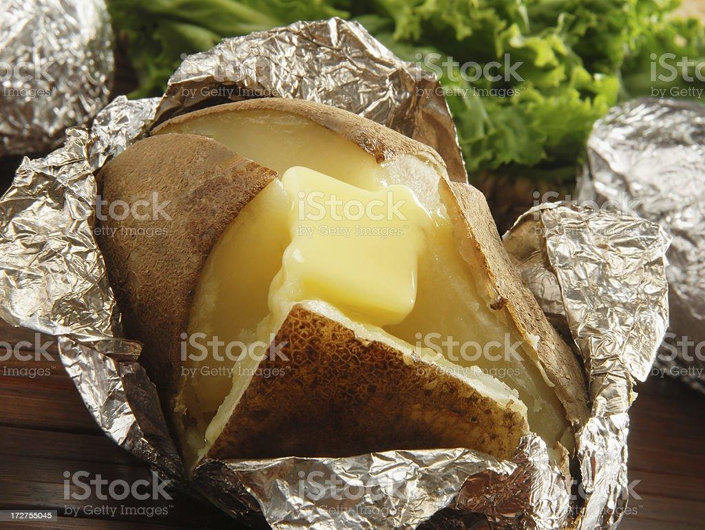Oven baked potato stock photo