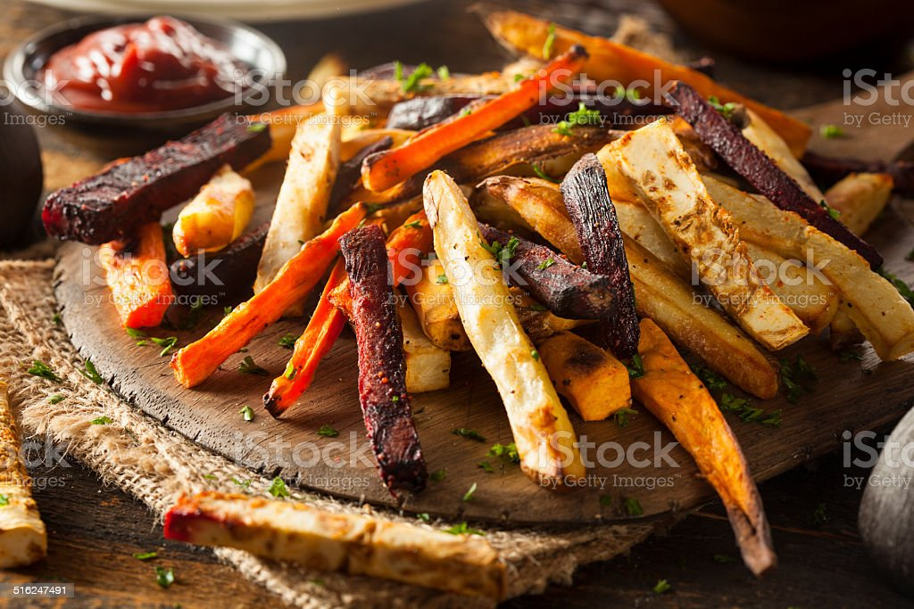 Oven Baked Vegetable Fries stock photo