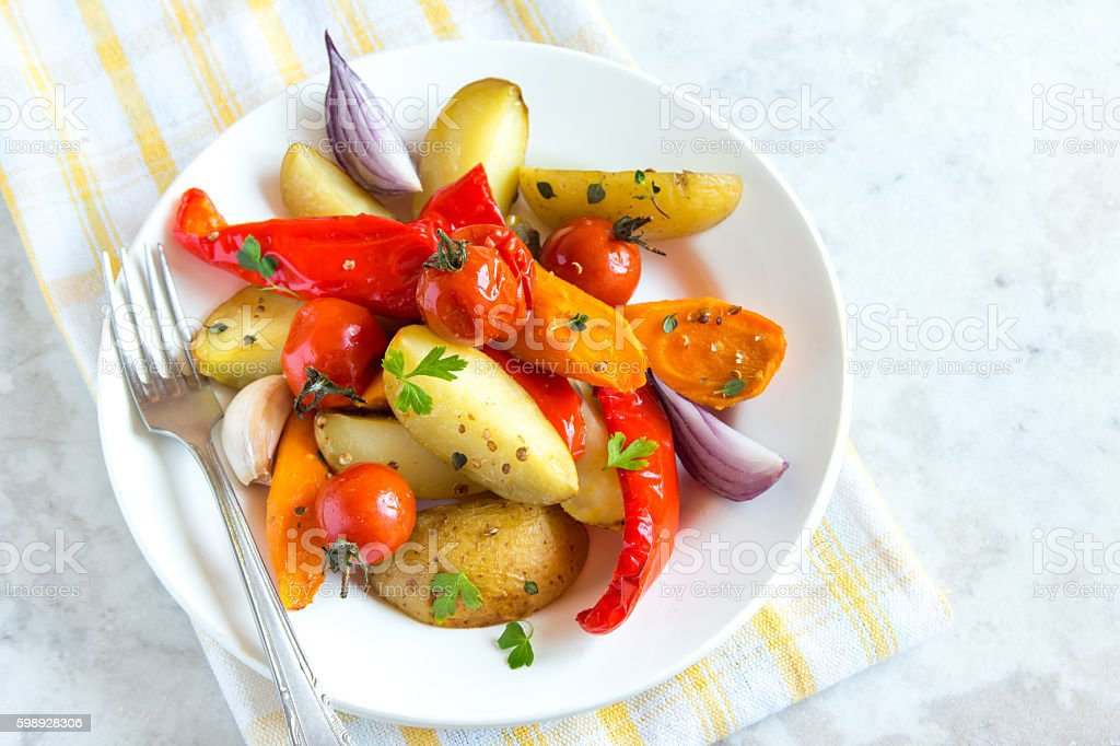 oven baked vegetables stock photo