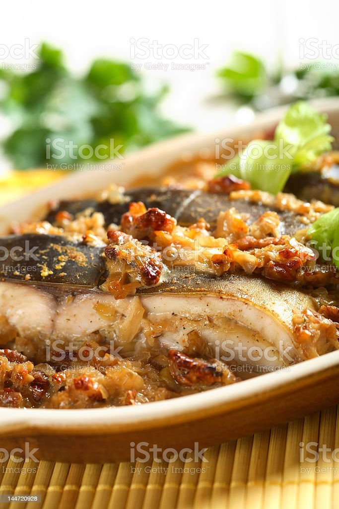 Oven carp with cashew royalty-free stock photo