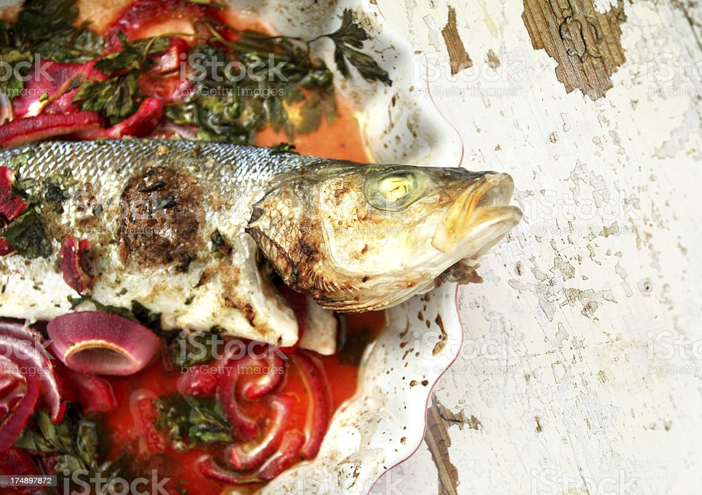 oven cooked fish royalty-free stock photo