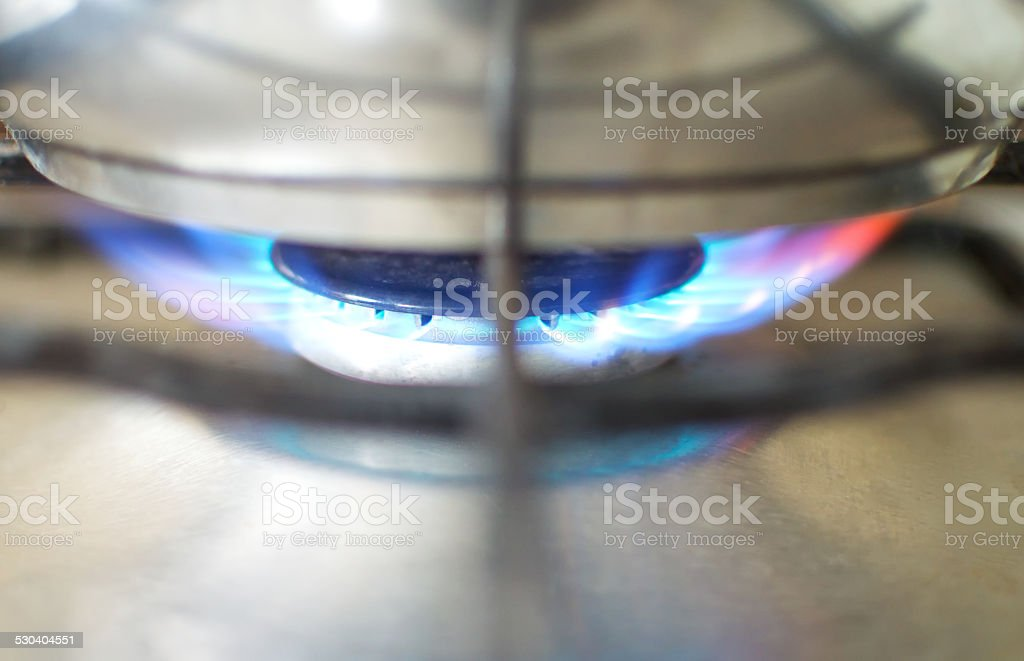 Oven flame. stock photo