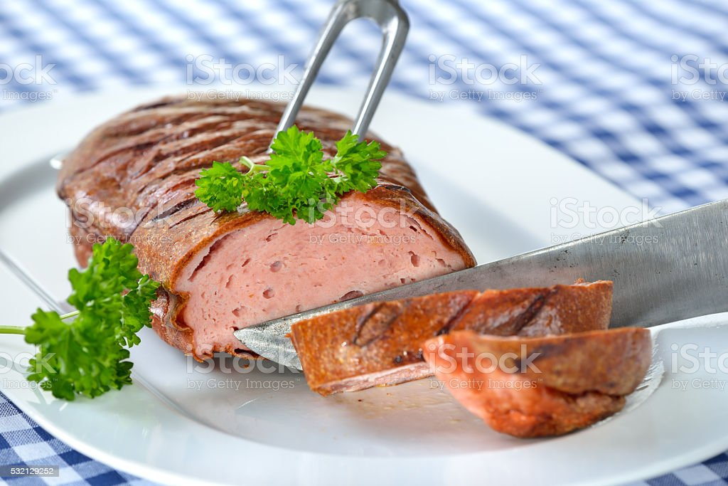 Oven fresh Bavarian meatloaf stock photo