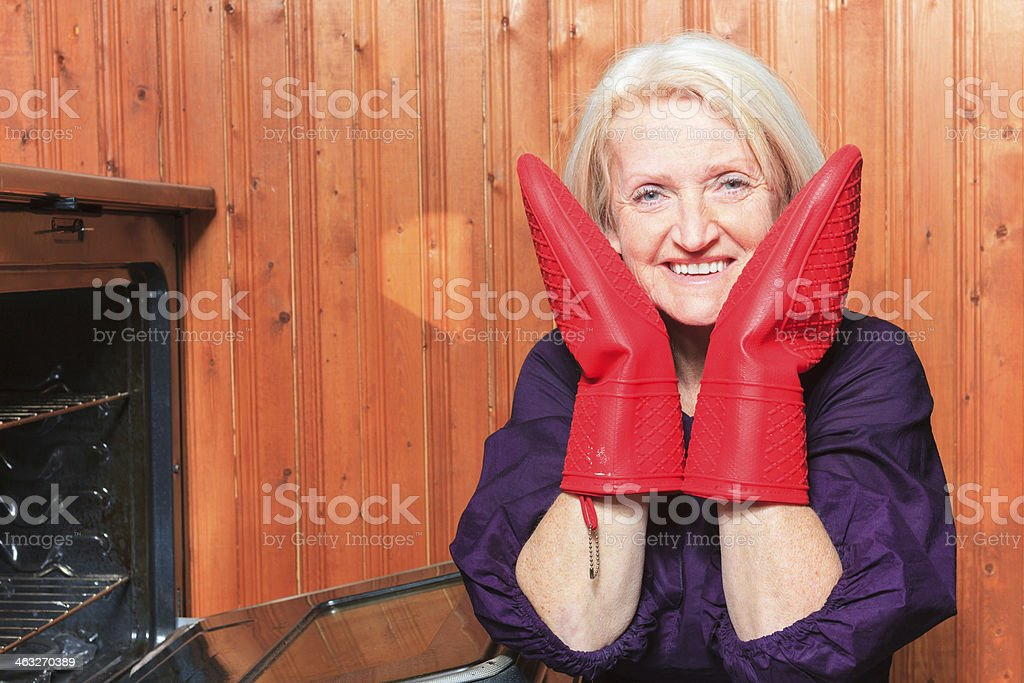 Oven Mitt - Cute Senior royalty-free stock photo