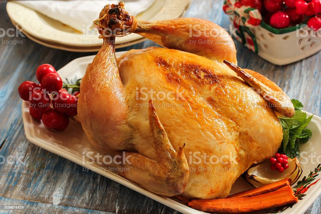 Oven Roasted chicken for Christmas and thanksgiving stock photo