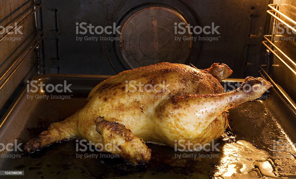 Oven roasted stuffed chicken royalty-free stock photo