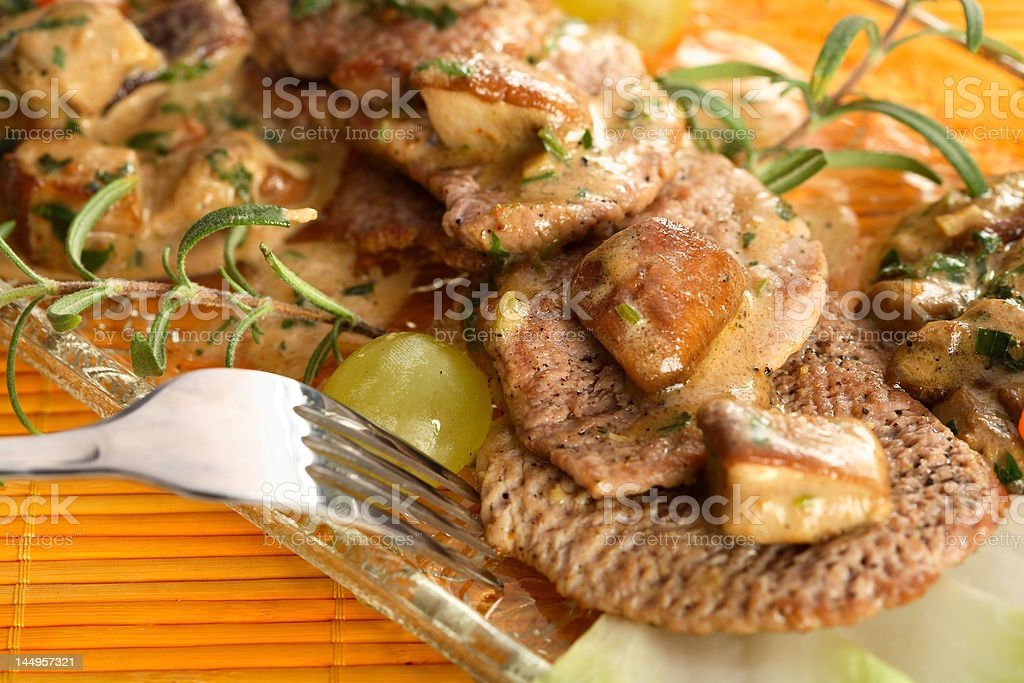 Oven veal with mushrooms royalty-free stock photo