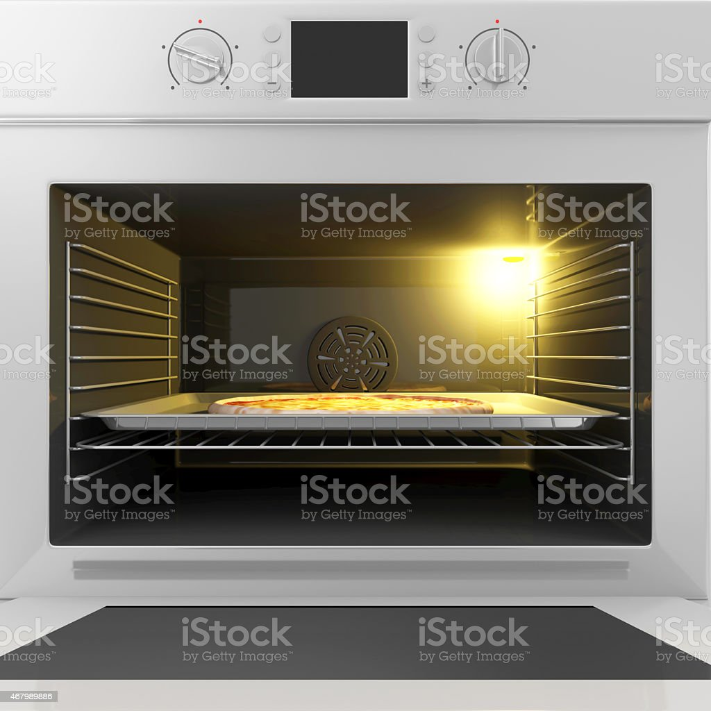 Oven with Open Door and Pizza on a Tray Inside stock photo