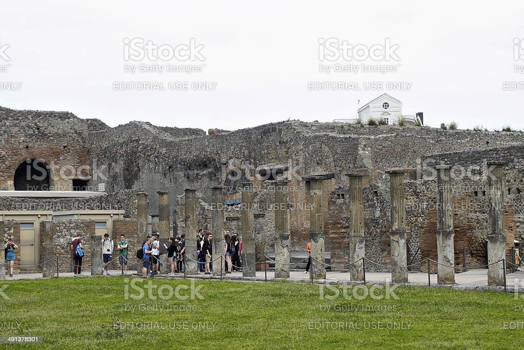 Palaestra at Pompeii exercise ground stock photo