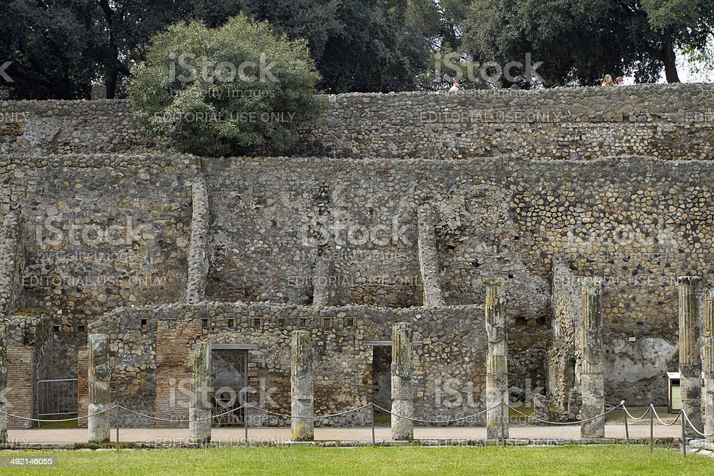 Palaestra at Pompei exercise ground stock photo