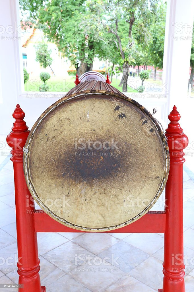 Over 150 years old, a big ancient long drum. stock photo