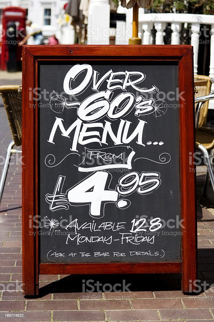 Over 60s menu board outside a pub stock photo