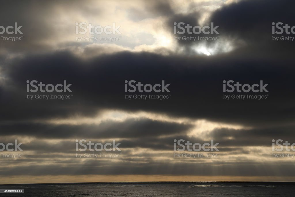 over cast seascape stock photo