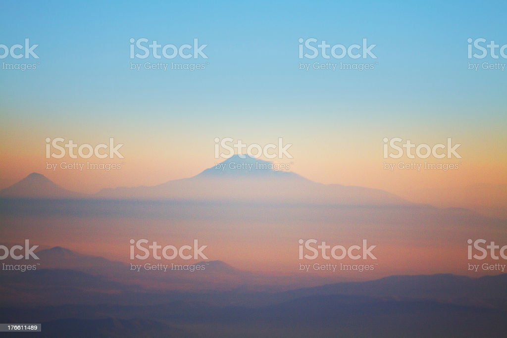 Over Caucasus Mountains stock photo