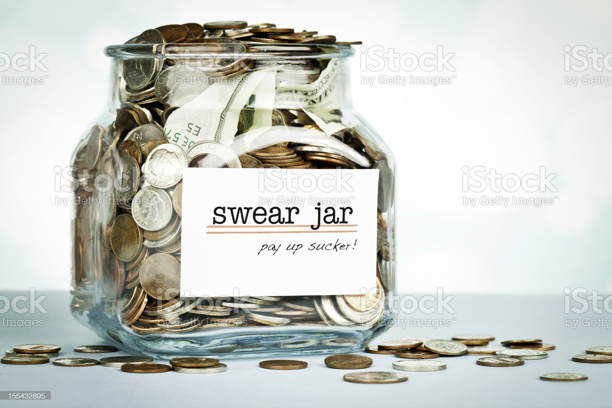 Over Flowing Swear Jar royalty-free stock photo