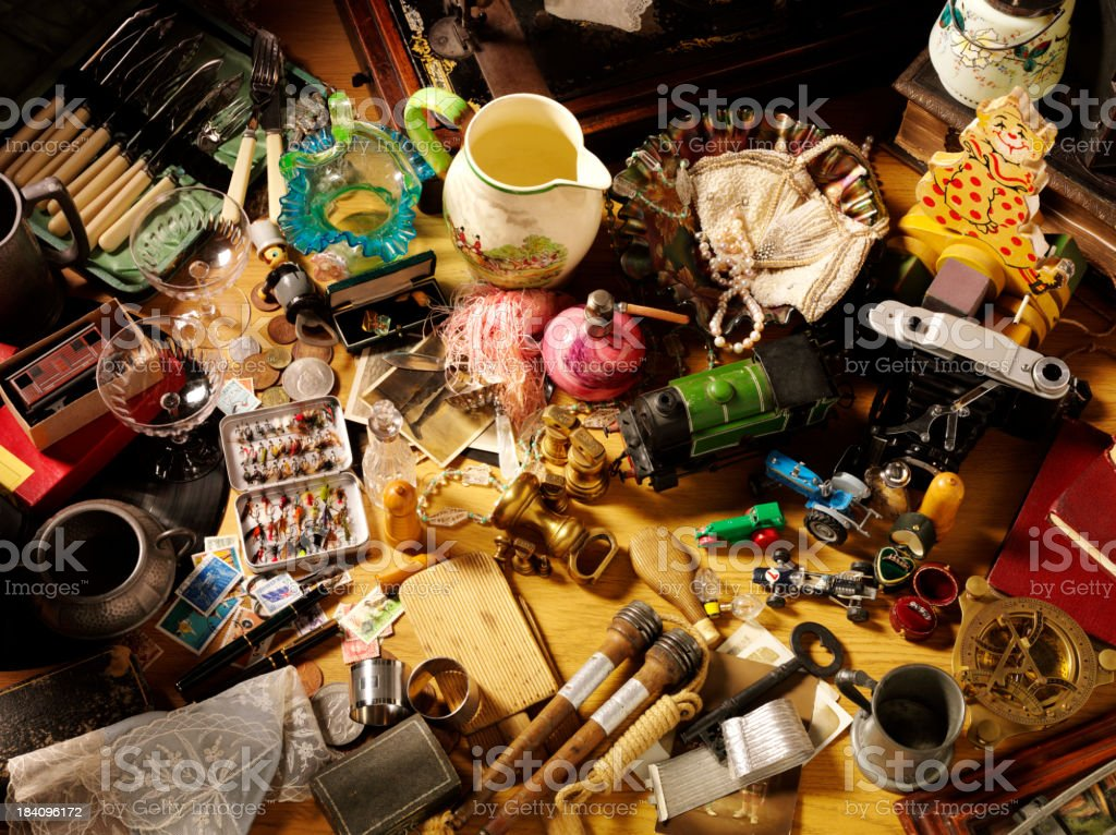 Over Head View of Collectables stock photo