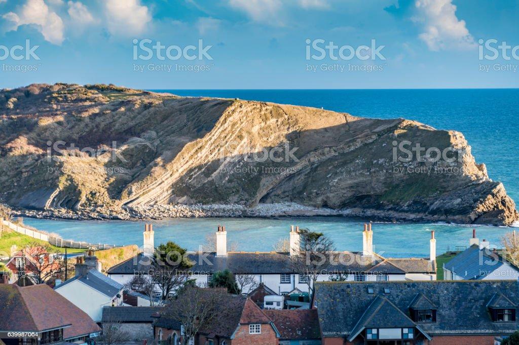 Over Lulworth Cove in Dorset stock photo