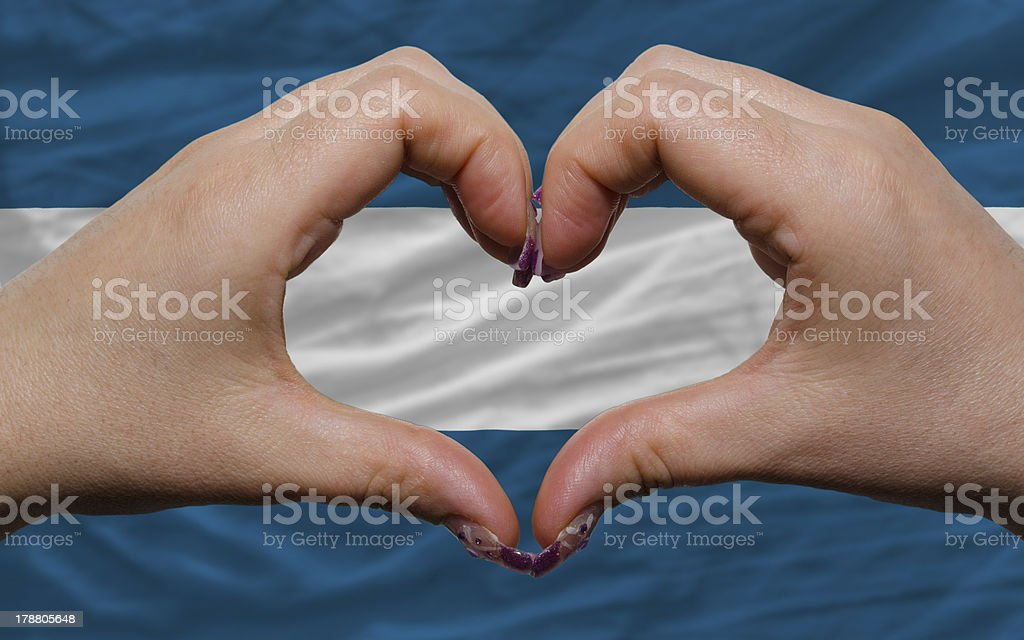 over national flag of el salvador showed heart and love royalty-free stock photo