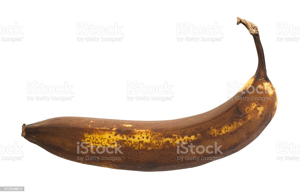 Over ripe banana, isolated stock photo