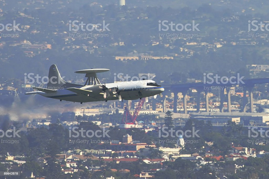 AWACS over San Diego - 2 royalty-free stock photo